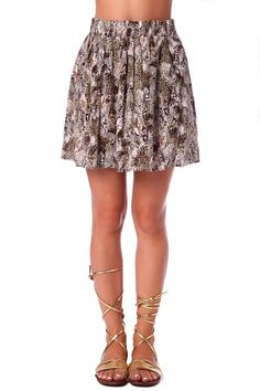Brown animal print flippy skirt