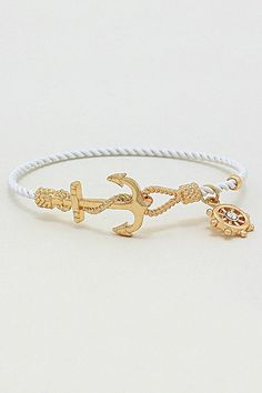 Nautical Cable Bracelet in White on Emma Stine Limited