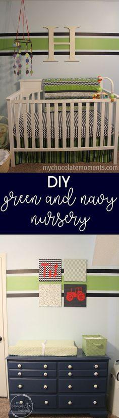 DIY green and navy nursery