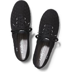 Keds CHAMPION EYELET (650 MXN) ❤ liked on Polyvore featuring shoes, keds, black, black shoes, lace shoes, keds shoes, black lace shoes and eyelets shoes