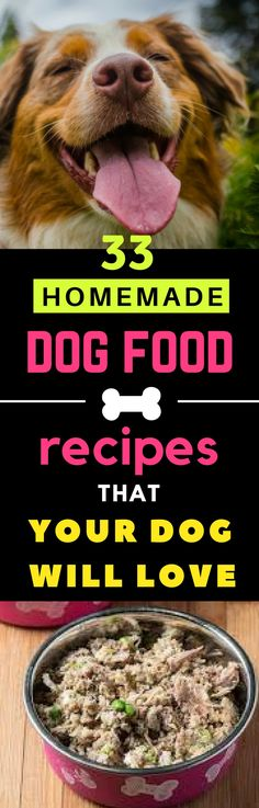 33 Best Homemade Dog Food Recipes that are Vet Approved. Your Dog Will Love These. #homemade #dogfood #dogs