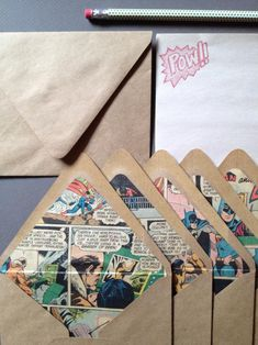 Comic Book Letter Writing Set-Comic Book Lined Kraft Envelopes--Marvel or DC Com. - Comic Book Letter Writing Set-Comic Book Lined Kraft Envelopes–Marvel or DC Comics SA - Pen Pal Letters, Book Letters, Letter Writing, Mail Art Envelopes, Kraft Envelopes, Cool Lettering, Hand Lettering, Blog Art, Stamp Carving