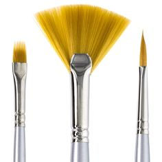 Amazon.com: Artist Paintbrushes: 3pc Specialty Paintbrush Set For Acrylic Paint, Oil & Watercolor. Durable, Easy Clean, Taklon Brush Fiber. Brushes Are Handmade In USA. Develop Your Art Skills With Zeta Today!