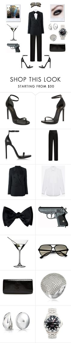 """""""Shaken, Not Stirred."""" by robinnnnnnn ❤ liked on Polyvore featuring Yves Saint Laurent, Balenciaga, Neil Barrett, POLICE, Riedel, Ray-Ban, Azhar, Bling Jewelry, OMEGA and bond"""