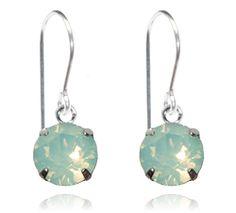 Light Green Opal Single Crystal Drop Earrings - $9.80