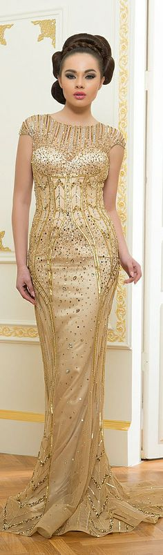 White and Gold Wedding. Gold Bridesmaid Dress. Elegant and Glamorous. Ali Al Khechen Couture S/S 2014