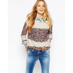 Pepe Jeans Boho Sweater ($117) ❤ liked on Polyvore featuring tops, sweaters, creamred, lightweight sweaters, boho tops, white cotton tops, white top and boho chic tops