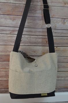 Baby Bag in French Linen & Black Waxed canvas / diaper carrier - vegan leather, Nappy Sack by Darby Mack USA