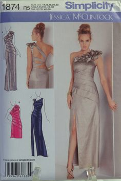 Simplicity 1874 Misses' Special Occasion Dress in Two Lengths with Back Variations