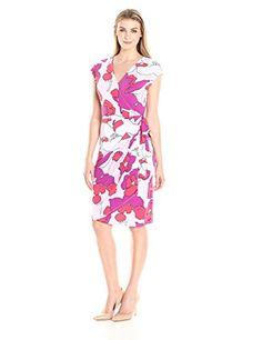 cc8dbc981e Lark  amp  Ro Women s Classic Cap-Sleeve Wrap Dress at Amazon Women s  Clothing store