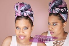 Quick And Easy Headwrap Tutorial on Natural Hair // Samantha Pollack Natural Hair Care, Natural Hair Styles, Head Wrap Scarf, Head Scarfs, Head Scarf Styles, African Head Wraps, Easy Hairstyles For School, Black Hair Care, Dreadlocks