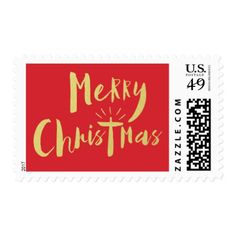 Gold and Red Merry Christmas Holiday Postage Stamp