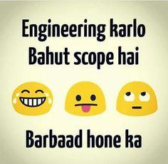 Scope nhi to dosron ki Zindagi barbad karty hai engineer. Funny Statuses, Funny Qoutes, Jokes Quotes, Desi Humor, Desi Jokes, Funny Minion Memes, Minions Quotes, Funny True Facts, Rebel Quotes