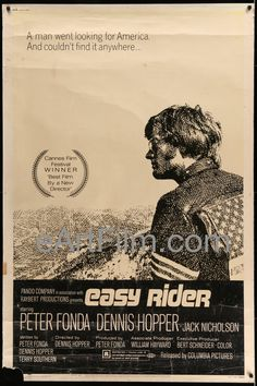 Easy Rider-director Dennis Hopper's Cannes-Award-winning biker-drug-classic-Peter Fonda-Dennis Hopper-Jack Nicholson-Luke Askew-Karen Black-Carrie Snodgress This is a RARE 40x60 original US one sheet.