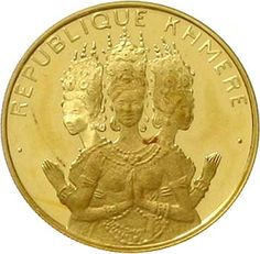 Khmer Republic 1970-1975. 50000 Riels gold 1974 Kambodschanische Tänzerinnen. KM. 64, Y. 19, nice 12. proof coinage, rare Dealer Teutoburger Münzauktion & Handel GmbH Auction Minimum Bid: 250.00 EUR