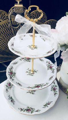 MOSS ROSE PLATES. Joann Haviland 3 Tier Cake Stand Tiered | Etsy Tiered Cake Stands, 3 Tier Cake Stand, Wedding Cake Stands, Unique Wedding Cakes, Princess Tea Party, New Cake, Dessert Table, Birthday Gifts, Tray