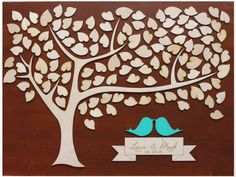 Wood LARGE Wedding Guest Book Alternative 3D Unique Guestbook Wedding Sign w Engraved Names Frameable Art Keepsake Love Birds & Tree of Life