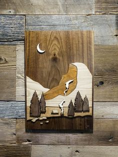 I made this camping wood art - x Walnut, Red Oak, Aspen, Cherry : CampingandHiking Intarsia Wood Patterns, Wood Carving Patterns, Wood Shadow Box, Carved Wood Signs, Intarsia Woodworking, Driftwood Crafts, Tree Patterns, Scroll Saw Patterns, Wooden Art