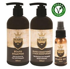 Beard Shampoo Conditioner Face Moisturiser Oil Complete Gift Pack Vegan Friendly by BE MY BEARD