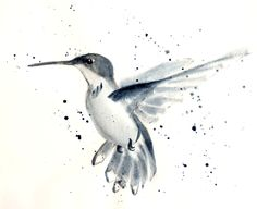 Watercolor hummingbird for a tattoo in a different color.  Would go great with the blue hibiscus flower I pinned earlier.