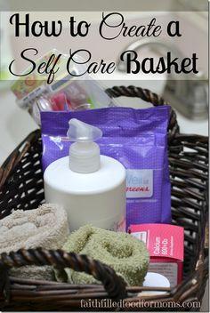 Self Care Basket for Women's Health plus FREE Self Care Printable Chart  #herhealth #shop