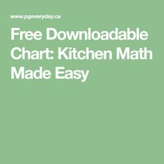 Free Downloadable Chart: Kitchen Math Made Easy