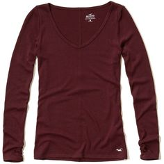 Hollister Must-Have Long Sleeve V Neck T-Shirt ($15) ❤ liked on Polyvore featuring tops, t-shirts, burgundy, slim fit tees, red tee, slim fit v neck t shirt, layering tees and red t shirt