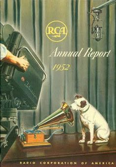 """RCA 1952 Annual Report with """"Nipper"""" His Master's Voice - Dog"""