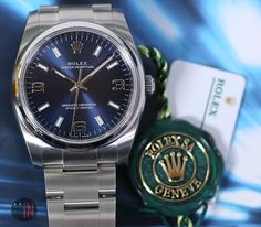 """""""Fresh Acquisition!"""" #Rolex 34mm Oyster Perpetual No-Date Blue Dial Ref#: 114200 ($4,575.00 USD) http://www.elementintime.com/Rolex-Oyster-Perpetual-114200-Stainless-Steel-Blue-Dial-New"""