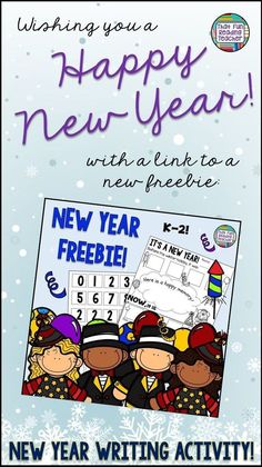 Happy New Year everyone! I wanted to send you my best wishes for the new year with this free New Year Writing activity for primary kids. New Years Activities, Kindergarten Activities, Activities For Kids, Winter Activities, Kindergarten Writing, Teaching Writing, Literacy, Preschool, Writing Resources