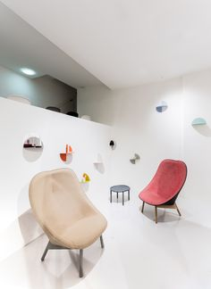 Uchiwa Lounge Chair designed by Doshi Levien with the Pivot shelf designed by Lex Pott and Serve Table by Wrong for Hay