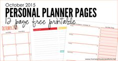 October 2015 planning pages to help get you organized during the month - I know I can use all the help I can get!
