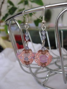 "Earrings made with seed beads and plastic beads :-) from a design in the book ""Bead Fantasies"" by Takako Samejima."