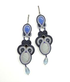 Blue Soutache Earrings Blue Chandelier Earrings от BeadsNSoutache