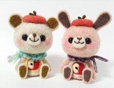 Beautiful cute Needle felting project wool animals bear bunny (Via @hananeko_youmou)