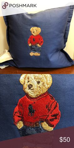 Polo Bear Pillow Limited edition NWT Polo Bear pillow Polo by Ralph Lauren Other Dad Hats, Polo Ralph Lauren, Teddy Bear, Homes, Graphics, Embroidery, Cars, Pillows, Flower