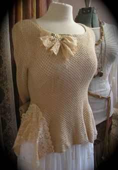 Romantic Cashmere Sweater, long sleeves, soft knit, lace embellishments, altered couture. $50.00, via Etsy.