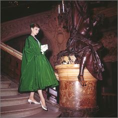 """Audrey Hepburn in evening coat by Givenchy on the grand staircase of Opera Garnier during filming of """"Funny Face"""", Place de l'Opera, Paris, 1956 Audrey Hepburn Funny Face, Audrey Hepburn Mode, Audrey Hepburn Photos, Aubrey Hepburn, Katharine Hepburn, Helen Rose, Brigitte Bardot, Fred Astaire, Marlene Dietrich"""