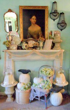 Fireplace mantle & vintage decor  ❤️