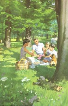 Picnic in woods - Peter And Jane, Happy Holiday. Retro Images, Vintage Images, Vintage Art, Norman Rockwell, Pin Ups Vintage, Art Pictures, Photos, Family Illustration, Girl Illustrations