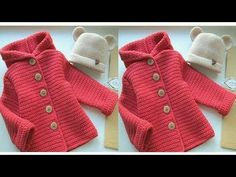 ABRIGO PARA NIÑO _ TEJIDO A CROCHET - YouTube Crochet Doll Dress, Crochet Coat, Crochet Cardigan, Knitted Baby Clothes, Knitted Hats, Diy Crafts Crochet, Baby Pullover, Baby Coat, Crochet Videos