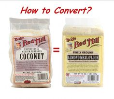 Convert almond flour back and forth to coconut flakes! It's easy with this chart. Many people ask why I don't use much almond flour in my recipes. Almond Flour Recipes, Gluten Free Recipes, Low Carb Recipes, Ketogenic Recipes, Cetogenic Diet, Lchf Diet, Tree Nut Allergy, Nut Allergies, Gastronomia
