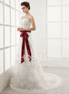 Wedding Dresses - $182.99 - A-Line/Princess Sweetheart Chapel Train Satin Tulle Wedding Dresses With Ruffle Lace Sashes Beadwork (002000164) http://jjshouse.com/A-line-Princess-Sweetheart-Chapel-Train-Satin-Tulle-Wedding-Dresses-With-Ruffle-Lace-Sashes-Beadwork-002000164-g164