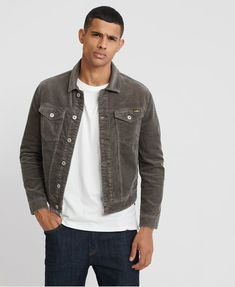 Buy Superdry Highwayman Cord Trucker Jacket from the Next UK online shop Chino Joggers, Superdry Jackets, Gray Jacket, Cargo Pants, Bomber Jacket, Winter Jackets, Leather Jacket, Denim, Hoodies