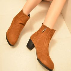 Vintage Thick High-heeled Round Toe Zipper Boots Booties
