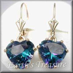 Natural 2ct Neptunes Garden Mystic Fire Topaz Fancy Fan Style Heart Leverback Heart-Shaped Earring. so beautiful