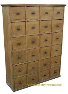 19th Century 24 drawer Apothecary tall chest, original mustard paint, dovetailed case & drawers, applied molding on top and bottom