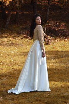 Ivory skirt, Satin skirt, Long wedding skirt, Maxi skirt High waisted skirt Long bridal skirt