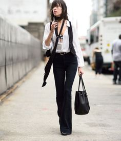 Street Style Skinny Scarf White Blouse Flare Pants