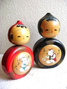 Japanese Kokeshi Doll Vintage  Couple 2 Dolls by VintageFromJapan, $60.00
